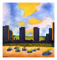 "For Sale: Towers by Damon Powell - Artist & Theologian | $250 | 9""w x 12""h 