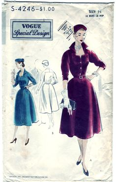 FREE SHIPPING Vintage 1951 Vogue S-4246 Special Design Sewing Pattern Misses' One-Piece Dress Size 14 Bust 32. $55.00, via Etsy.