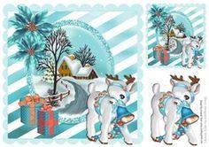 Pretty turq snow scene with poinsettias   reindeer 8x8 on Craftsuprint - View Now!
