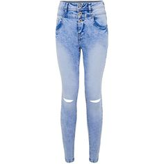 cc6209c541ef Petite Blue Acid Wash Ripped Knee High Waisted Skinny Jeans ( 39) ❤ liked on