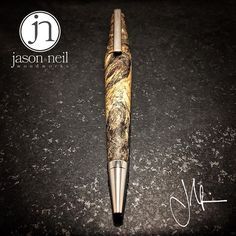 The Tucker ballpoint, also in Buck Eye Burl. Probably some of the most figured grain I've worked with to date. . For commissions visit www.jn-woodworks.com, or email me at jason@jn-woodworks.com