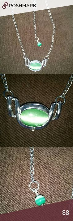 "Necklace Very pretty green oval stone with a green round dangle on the clasp. About 10""long. Very good used condition Jewelry Necklaces"