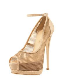 these are fantastic for a nude look! i love the ankle strap and i love the fishnet! what a great shoe for a spring evening!