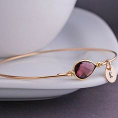 Gold Amethyst Bracelet, Gold Personalized Bangle Bangle with Initial Charm by georgiedesigns