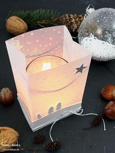 Weihnachtliches Windlicht mit dem Stanz- und Falzbrett für Geschenktüten von Stampin Up // Giftbag punchboard candle holder