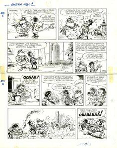 André Franquin,1967, Gaston Lagaffe, Gag 491 par André Franquin - Planche originale