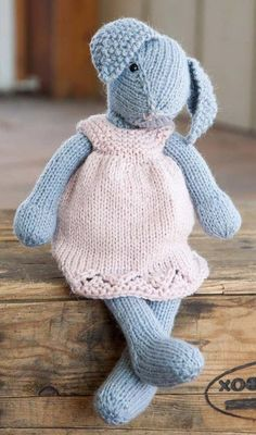 Free Knitting Pattern for Lizzie Rabbit - This adorable bunny toy is 14″ (36cm). Designed by by Rae Blackledge for Willow Yarns.