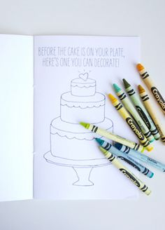 Coloring book for kids' table || 11 Ways To Keep Kids Busy At Your Wedding