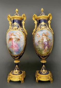 19th C. Pair of French Bronze & Sevres Porcelain Vases Edit