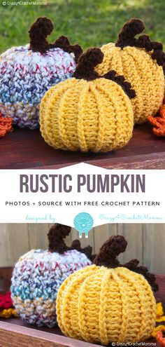 Rustic Pumpkin Free Crochet Pattern Decorate your house or a porch with this lovely crocheted Rustic Pumpkin. It's made with thick yarn,. Crochet Pumpkin Pattern, Halloween Crochet Patterns, Crochet Patterns Amigurumi, Crochet Toys, Free Crochet, Knitting Patterns, Free Pumpkin Patterns, Knitting Ideas, Thanksgiving Crochet