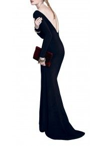 Vivien - siren shilloutte backless jersey gown with train