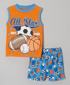 Another great find on #zulily! Candlesticks Orange & Blue 'All Star' Tank Pajama Set - Toddler & Boys by Candlesticks #zulilyfinds