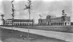 Rice University - 1920s. Two buildings on the campus of Rice University. The building on the left is Herzstein Hall and the building on the right is Lovett Hall. Burdette Keeland Architectural Papers, 1926-2000. Special Collections, University of Houston Libraries (Public Domain).