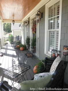 Fall porch ideas on pinterest open house house numbers - Narrow porch decorating ideas ...