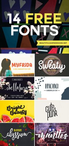 Browse this list of 14 free fonts. Includes instructions for how to download fonts. #fonts #freefonts #popularfonts via @tiffany_griffin