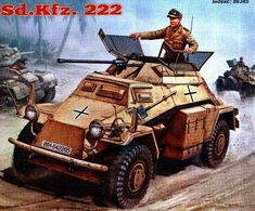Here areSd.Kfz. 222 and VW Kubelwagen Type 82, 2light military vehiclesused by the German military during World War II, the papercrafts are created by Academy of the young modeller, and the scale is in 1:32.