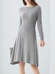 Shop Midi Dresses - Gray Plain Casual Modal Midi Dress online. Discover unique designers fashion at StyleWe.com.