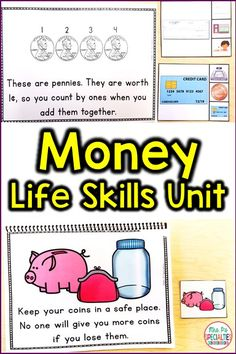 Money Life Skills Unit For Special Education (Autism Resource) Money Life Skills Unit For Special Education (Autism Resource),Life skills lessons Students learn about the different types of money, how to count it, how to. Life Skills Lessons, Life Skills Activities, Life Skills Classroom, Teaching Life Skills, Autism Activities, Autism Resources, Special Education Classroom, Classroom Ideas, Autism Classroom