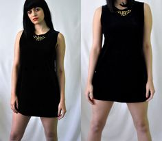Black Velvet Studded Mod Micro Mini Dress / Vintage 90s by Skella