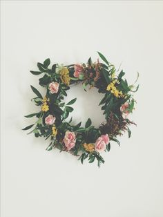 Wreath of preserved lemon leaves and roses...perfect pink-and-green (for Winter or Summer!) www.candystorecollective.com