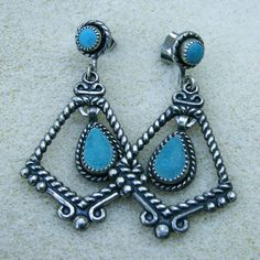 Turquoise Silver Dangles  Handmade Vintage Turquoise with
