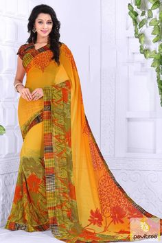 Get splash of gracefulness in this smashing yellow orange printed saree online at lowest price in India. Paired with matching blouse piece. Purchase Now! #casualsaree, #printedsaree, #onlinesareeshopping, #discountoffer, #pavitraafashion,#utsavfashion, #lowestpricesaree, #yellowprintedsaree http://www.pavitraa.in/store/casual-saree/ callus:917698234040