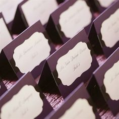 Custom Eggplant Escort Cards
