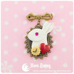 Follow the White Rabbit Brooch by CuteMoonbunny on Etsy