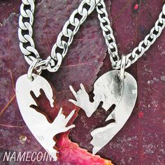 ASL I love you necklace relationship necklace couples by NameCoins, $49.99