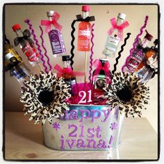 I like the bows on the bottles 21st Birthday Basket, 40th Birthday, Birthday Gifts, Birthday Ideas, Women Birthday, Alcohol Gift Baskets, Alcohol Gifts, Diy Gifts, Best Gifts