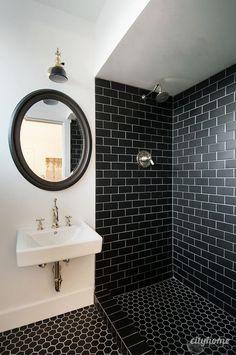 old black and white bathroom tile makeover.decorative black and white bathroom tile.mosaic black and white bathroom tile.black and white bathroom tile ideas.vintage black and white bathroom tile. Black Tile Bathrooms, Modern Bathroom, Small Bathroom, Bathroom Ideas, Basement Bathroom, Master Bathroom, Bathroom Goals, Guys Bathroom, Masculine Bathroom