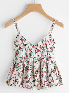COLROVIE Floral Peplum Cami Top Women Multicolor Ditsy Print Cute Summer Tops 2017 Fashion Sexy V Neck Casual Draped Camisole ** AliExpress Affiliate's Pin. View the item in details by clicking the image Teen Fashion Outfits, Trendy Outfits, Summer Outfits, Fashion Dresses, Cute Outfits, 70s Fashion, Fashion Vintage, Vintage 70s, Fashion Pants