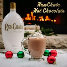Rum chata hot chocolate - add 2 oz of Rum Chata to 8 oz of hot chocolate (heated). Holiday Drinks, Fun Drinks, Yummy Drinks, Holiday Recipes, Alcoholic Drinks, Mixed Drinks, Christmas Recipes, Spiked Hot Chocolate, Hot Chocolate Bars