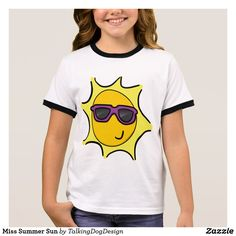 Miss Summer Sun T-Shirt Design by Talking Dog on Zazzle