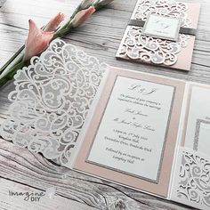 wedding invitations white Blush pink and white laser cut pocket invitation. Laser cut invitation with pocket. How to make your own wedding invitations. Blush pink and silver wedding ideas. Elegant Wedding Invitations, Make Your Own Wedding Invitations, Diy Wedding Stationery, Wedding Envelopes, Diy Invitations, Wedding Invitation Cards, Diy Wedding Cards, Cards Diy, Pocket Invitation