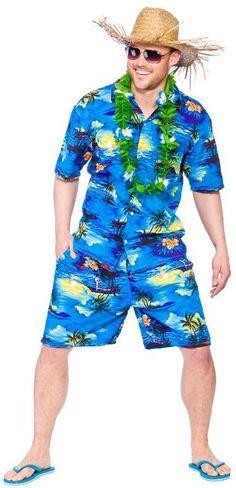 Men'S Hawaiian Shirt & Shorts Blue Palm Print Fancy Dress Costume