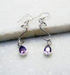#Amethyst Gem Stone 925 Sterling #Silver Spring Hoop #Earrings L 1 5in Seame 0234 | eBay