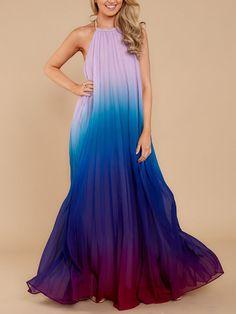 Shop Chiffon Dresses - Women Chiffon Gradient Halter Sleeveless Evening Ombre Maxi Dress online. Discover unique designers fashion at Modmiss.com.