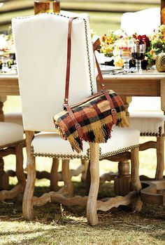 A Cozy Plaid Blanket a perfect way to keep guest warm while dining outside!