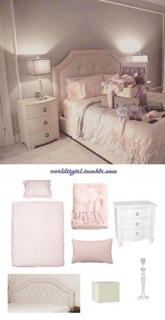 Scream Queens inspired bedroom: Duvet, Blanket, Nightstand, Pillow, Headboard, Lampshade, Lamp.