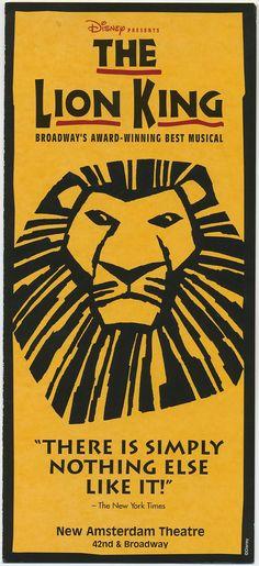 The Lion King~I saw this on Broadway with my friend~it was SOOOOOOOOOOOOOO awesome!!!!