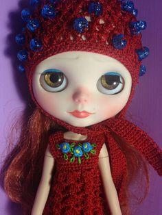 Dress crochet & hat Flowers for Blythe Doll