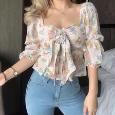 Love sequin embroidery square collar puff sleeve retro shirt · FE CLOTHING · Online Store Powered by Storenvy Girly Outfits, Stylish Outfits, Cute Outfits, Fashion Outfits, Fashion Top, Fashion 2018, Womens Fashion, Fashion Trends, Floral Tops