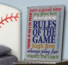 Rules of the Game Planked Wood Sign Rules of the Game Sign Sports Themed Rooms Sports Decor for Boys Sports Themed Nursery Signs for Boys Room Signs for Boys Bedroom Boys Nursery Decor Sports Wall Decor Locker Room Theme Bedroom by OurSecretPlace