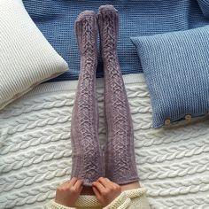 Wolle-Knie hohe stricken Socken Wollsocken FREE SHIPPING Hand fertig Socken Kabel Knie hohe Socken Lavendel Wollsocken Warm Winter Socken