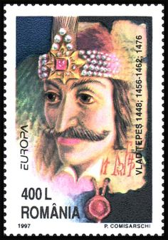 Vlad III, Prince of Wallachia or Vlad Dracula or Vlad the Impaler  (1431–1476/77).Post stamp from Romania, circa 1997