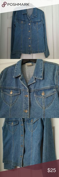 VSC Moda Intl Vintage Denim Jacket Excellent condition, worn maybe 2x. Longer, hip length  mid-weight denim jacket.  Stoneware color, with princess seaming to follow your curves.  Great over a sweater, a tank, or a shirt, this is a more dressed up denim look.  2 front pockets on the chest, this is a very feminine version of the classic Jean jacket.  Wear it over jeans or dress it up over a skirt or a sheath dress for work.  This is a 4 season piece, versatile and so wearable.  Please don't…