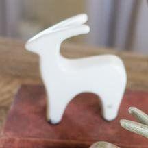 Ceramic Deer Statuette: White. paperweight or kitchen windowsill or bookshelf decor.