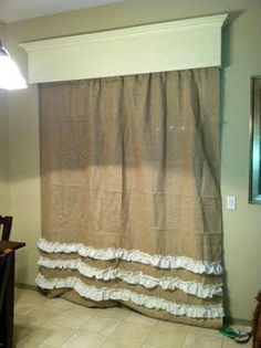 burlap curtains, love the moulding too