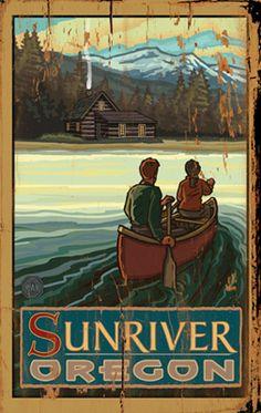 Vintage Sunriver Oregon Wood Art Sign